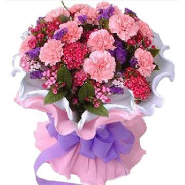 > 【花畑】母亲节康乃馨鲜花花束-幸福人生
